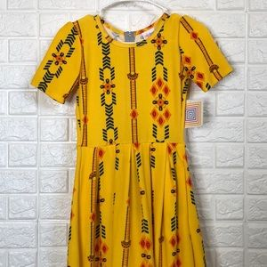 NWT LulaRoe Amelia yellow Aztec print dress